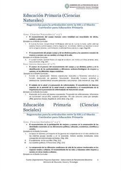 Sugerencias para la articulación entre la ESI y el Diseño Curricular para Educación Primaria