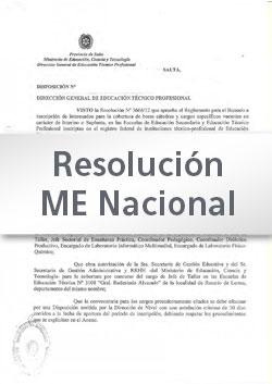 Res. Min. Educación de la Nación Nº 1120-10